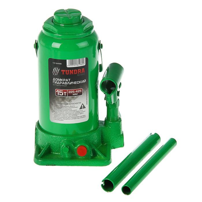 Домкрат гидравлический бутылочный TUNDRA basic 15 т, высота подъема 225-425 мм