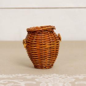 Кашпо «Бочонок», с ручками, 6,5×6.5×7 см, бамбук Ош