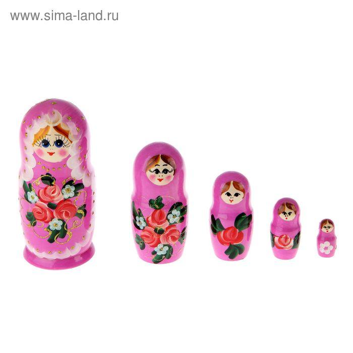 "Матрешка ""Цветы"" розовая, 5 кукол, полхово-майданская роспись"