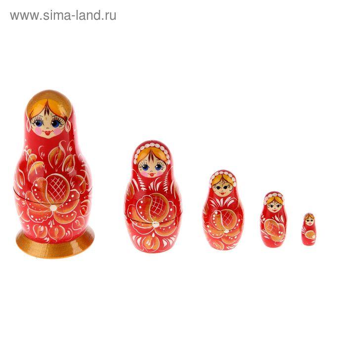 """Матрешка """"Гжель"""" красная, 5 кукол, художественная роспись"""