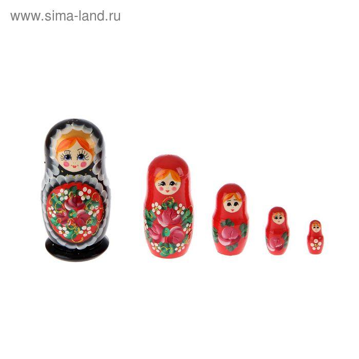 """Матрешка """"Ягоды"""" 5 кукол черный платок, черное платье, красный поднос, цветы"""