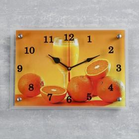 """Часы настенные, серия: Кухня, """"Апельсины и бокал"""", 25х35  см, микс"""