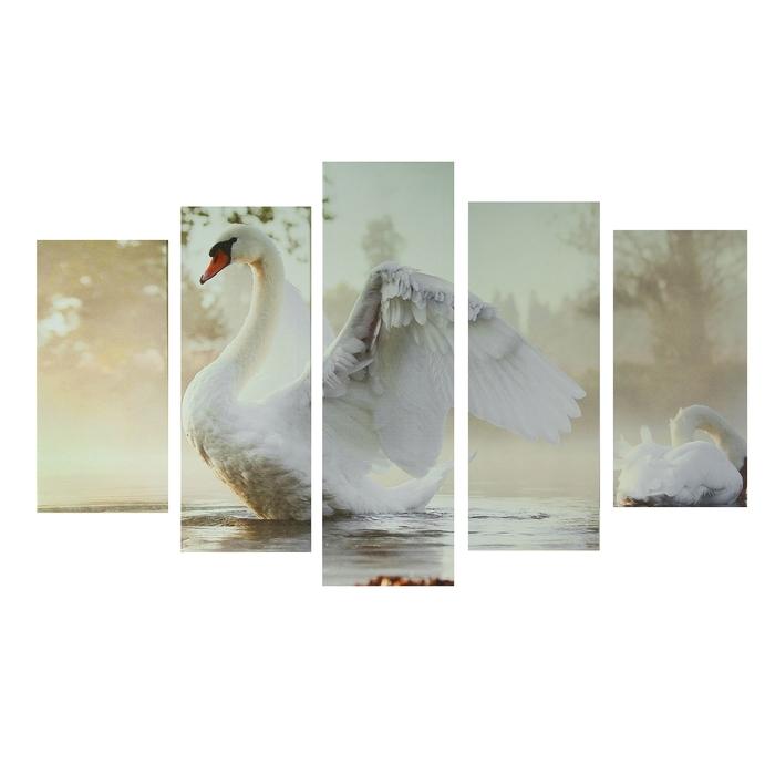 "Картина модульная на подрамнике ""Царевна-лебедь"" 2-25х52, 2-25х66,5,1-25х80, 80*140 см - фото 1620282"