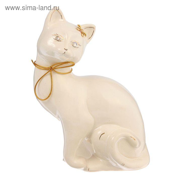 """Копилка """"Кошка Шарлотта"""" глазурь, белая, тесьма"""