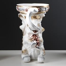 "Подставка декоративная ""Сидящий слон"", белая, 42 см - фото 1698052"