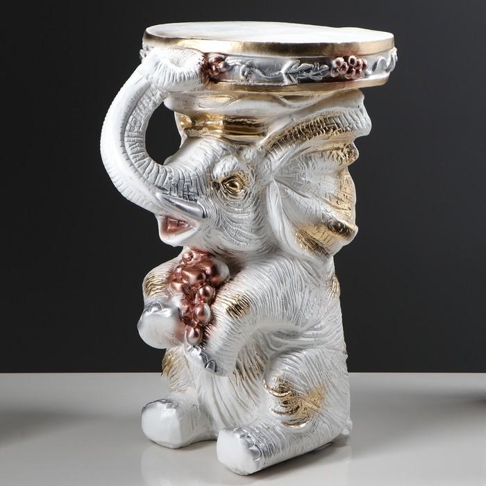 """Подставка декоративная """"Сидящий слон"""", белая, 42 см"""
