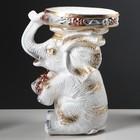"Подставка декоративная ""Сидящий слон"", белая, 42 см - фото 1698053"