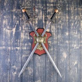 Сувенирное оружие на планшете «Рыцарский турнир», два меча на щите, 71см - фото 4677869
