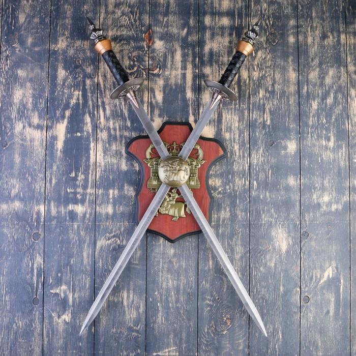 Сувенирное оружие на планшете «Рыцарский турнир», два меча на щите, 71см - фото 8875542