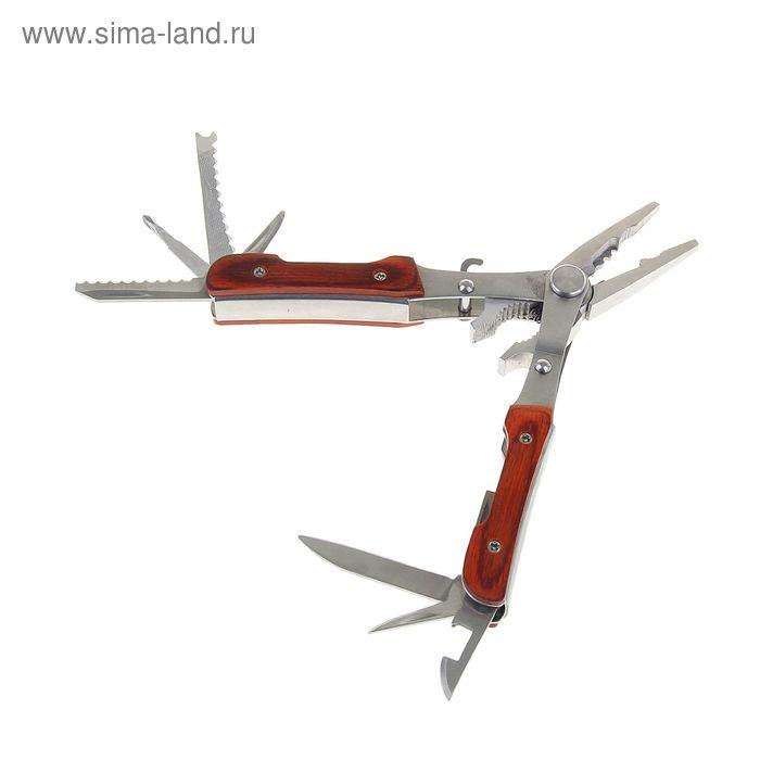 Инструмент многофункциональный 10в1, рукоять дерево