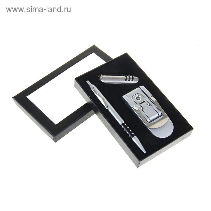 Подарочный набор, 3 предмета в коробке: ручка, нож, фонарь на ремень складной