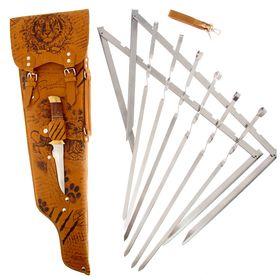 Набор для шашлыка 'Записки охотника.Тигр': 6 шампуров, нож Ош