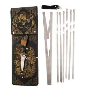 Набор для шашлыка 'Охота на лося': 6 шампуров,мангал, нож Ош