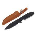 Нож нескладной, 16 см, чёрный, в чехле, рукоять под плетение