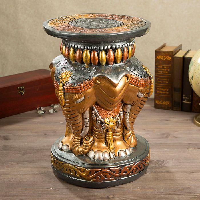"""Подставка декоративная """"Индийский слон"""", 43 см, бронза"""