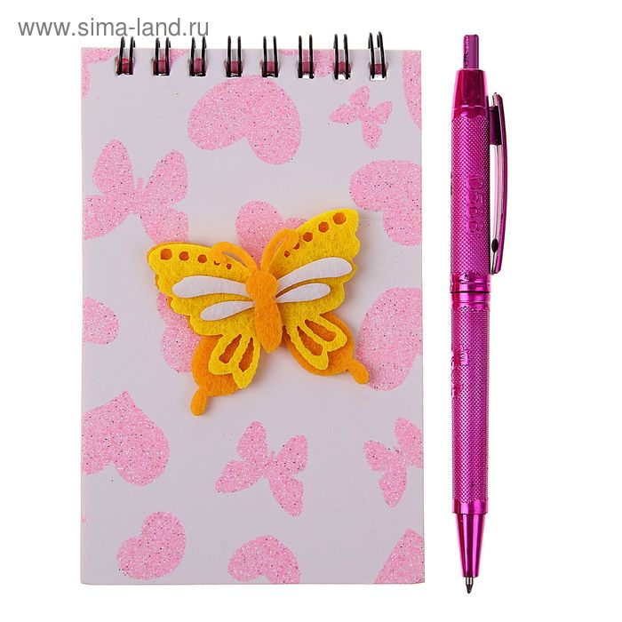 Блокнот А6 30л лин на гребне с ручкой в пластиковой коробочке Бабочка