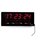 Часы настенные электронные, прямоугольные: будильник, время, календарь, температура, выбор мелодии, цифры красные