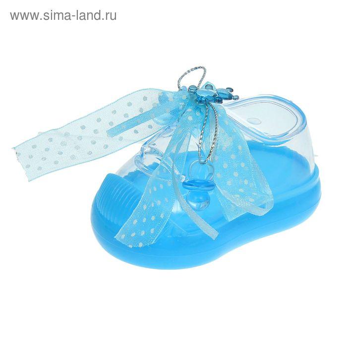 """Бонбоньерка """"Туфелька"""" с бантиком, цвет голубой"""
