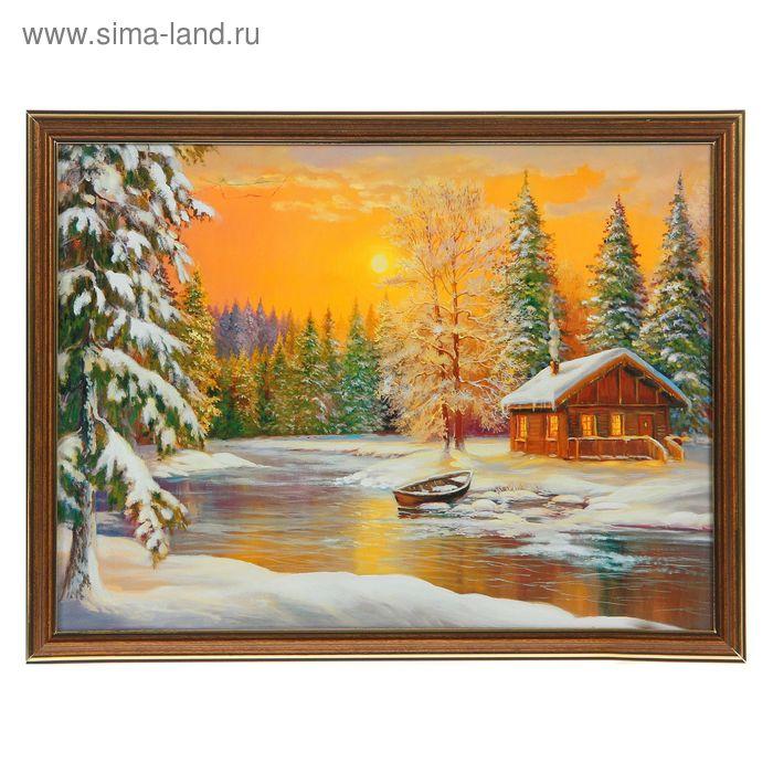 """Картина """"Зимний домик у реки"""""""