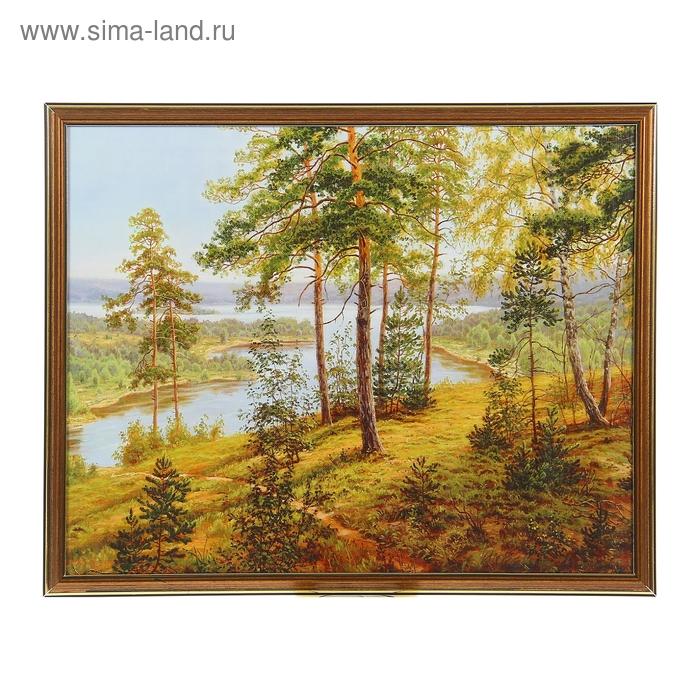 """Картина """"Сосновый лес над озером"""""""