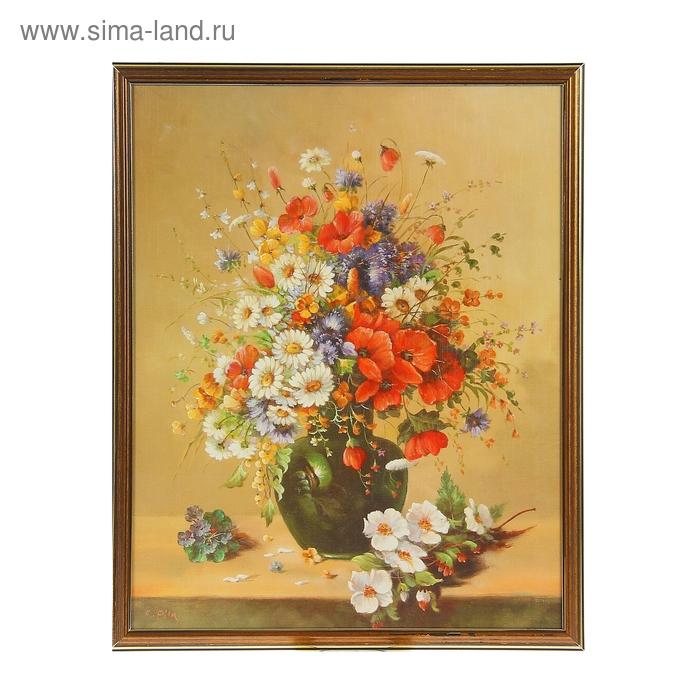 """Картина """"Полевые цветы в тёмной вазе"""""""