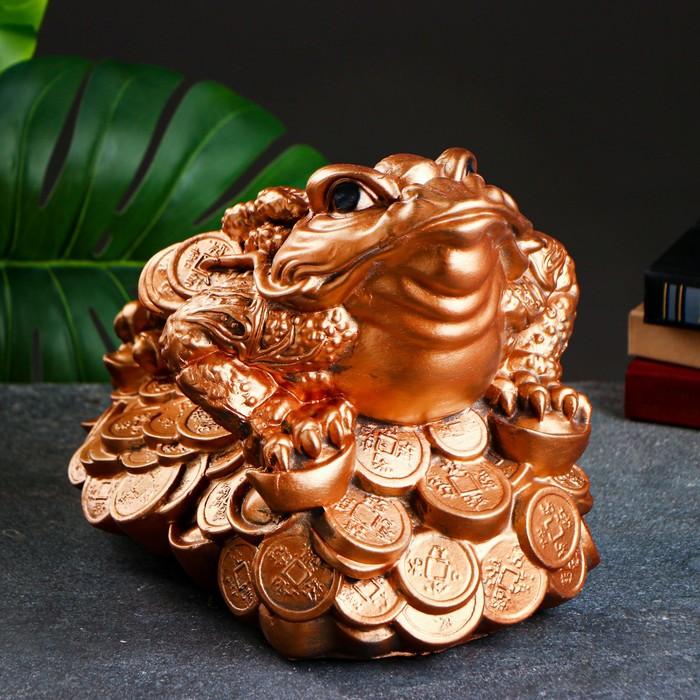 """Сувенир """"Трёхлапая жаба"""" большая, золото"""