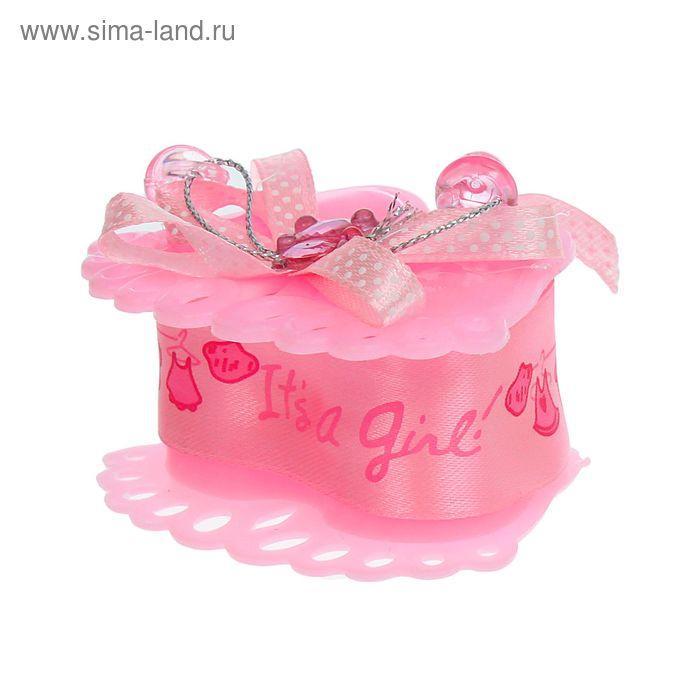 """Бонбоньерка """"Пяточки"""" с мишкой, цвет розовый"""