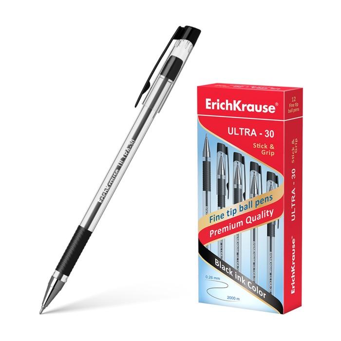 Ручка шариковая Erich Krause ULTRA-30, узел-игла 0.7 мм, чернила чёрные, резиновый упор, длина линии письма 2000 метров