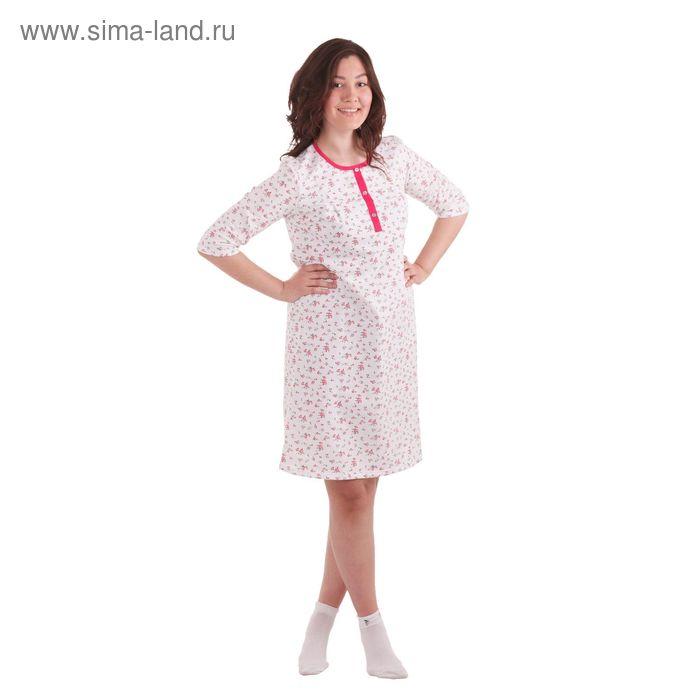 Сорочка женская, футер, размер 54 (XXXL) набивка (А437), цвет микс
