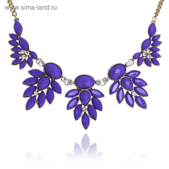 """Колье """"Модница"""", листья, цвет тёмно-фиолетовый в золоте"""