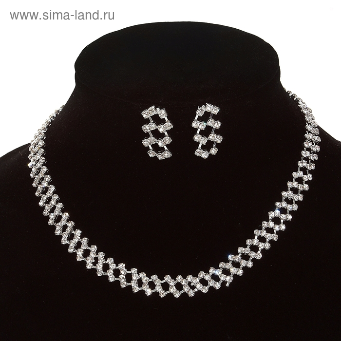 Набор 2 предмета: серьги, колье Wedding, шахматы, цвет белый в серебре