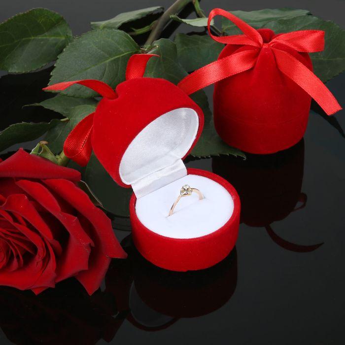 """Футляр под кольцо """"Подарочек"""", 5*5*6, цвет красный, вставка белая"""