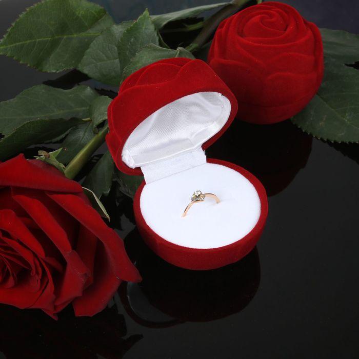 "Футляр под кольцо ""Роза крупная"", 4*4*5, цвет красный"