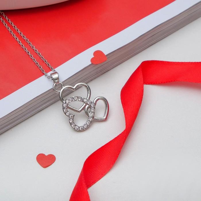 """Кулон """"Сердец трио"""", цвет белый в серебре, 45см"""