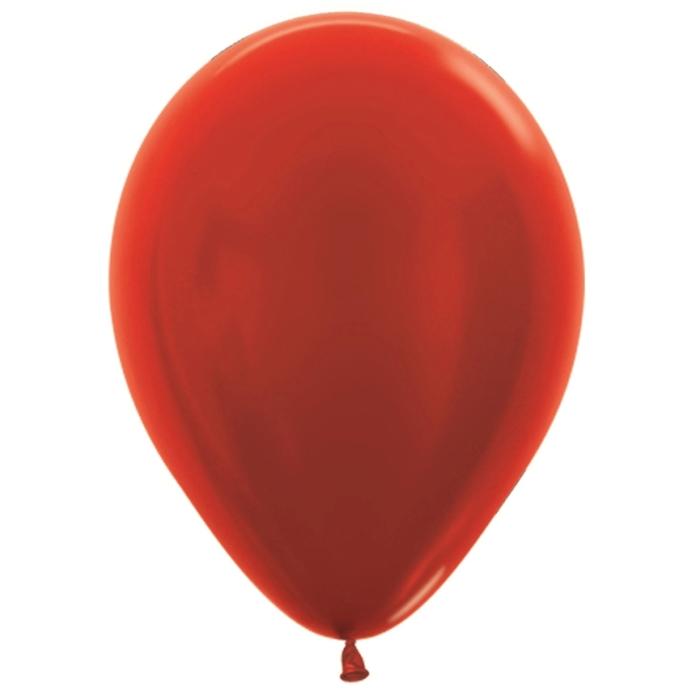 """Шар латексный 10"""", металл, набор 100 шт., цвет красный 515 - фото 220865579"""