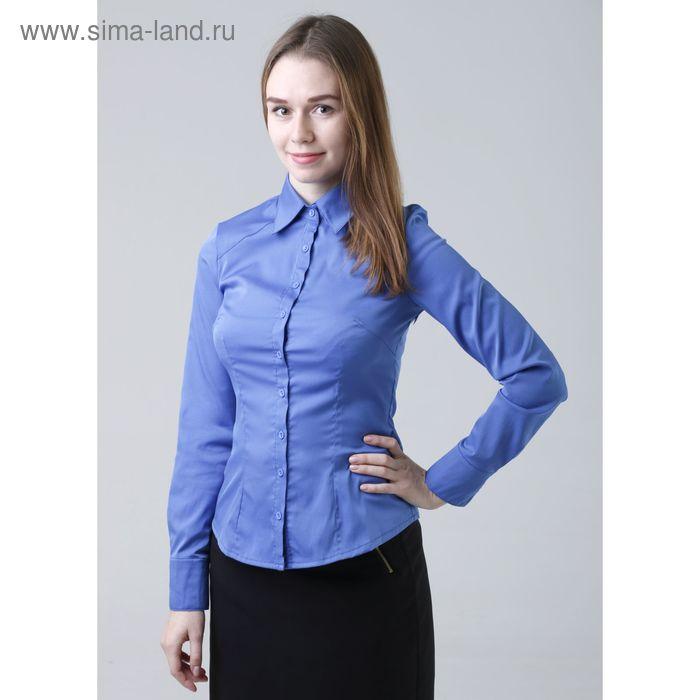 Блузка женская с длинным рукавом 905-8195, размер 42, цвет ярко-синий
