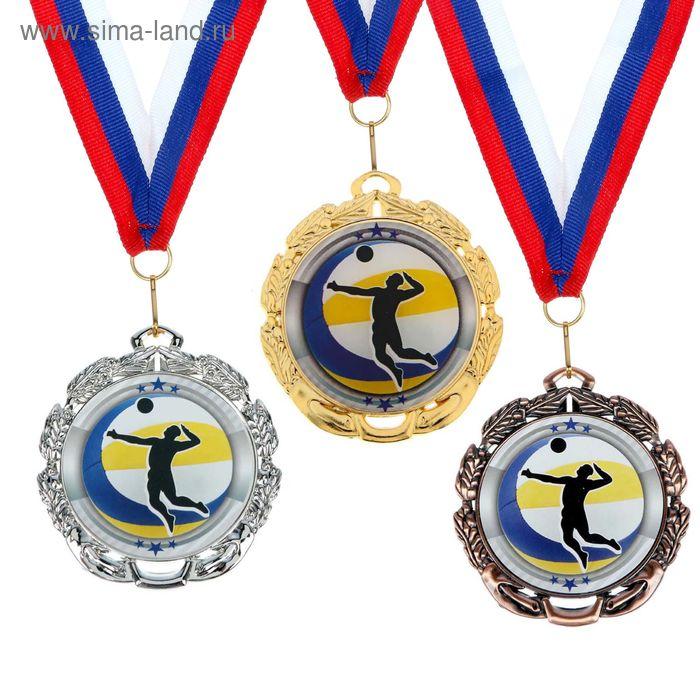 """Медаль тематическая 045 """"Волейбол"""" диам 6,5 см Цвет зол"""