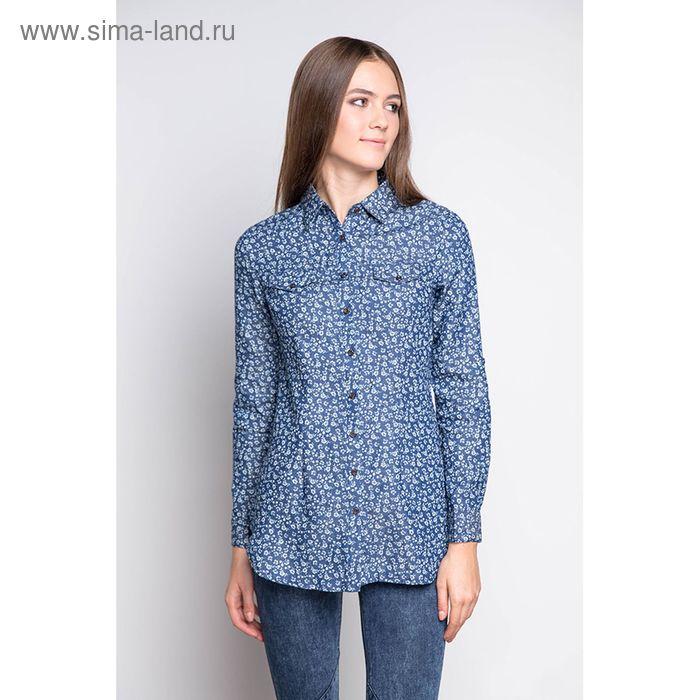 Блузка женская с длинным рукавом, размер 50, цвет джинс (арт. 1561 С+)