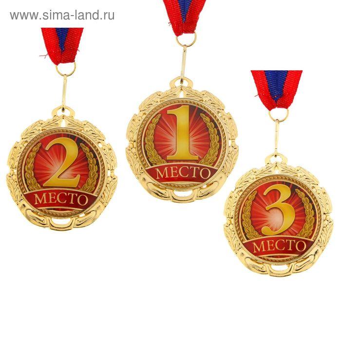 """Медаль призовая 031 """"2 место"""" диам 6,5 см Цвет зол"""