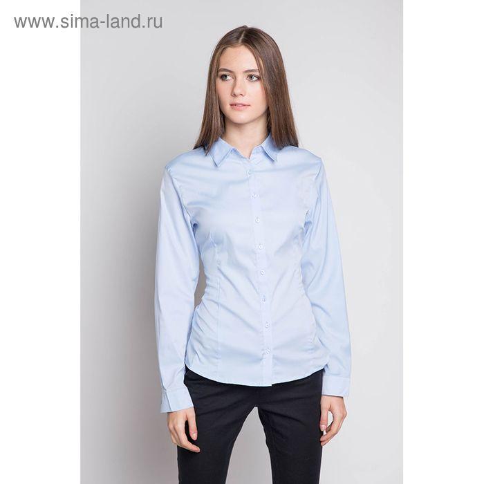 Блузка женская с длинным рукавом 905-1515L, размер 52, цвет голубой