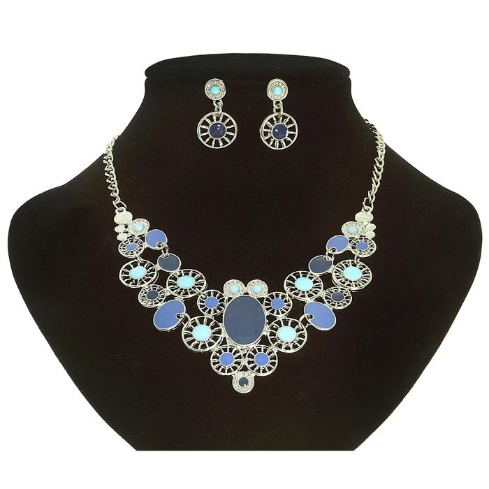 """Набор 2 предмета: серьги, колье """"Ажурный фэшен"""", цвет сине-голубой в серебре"""