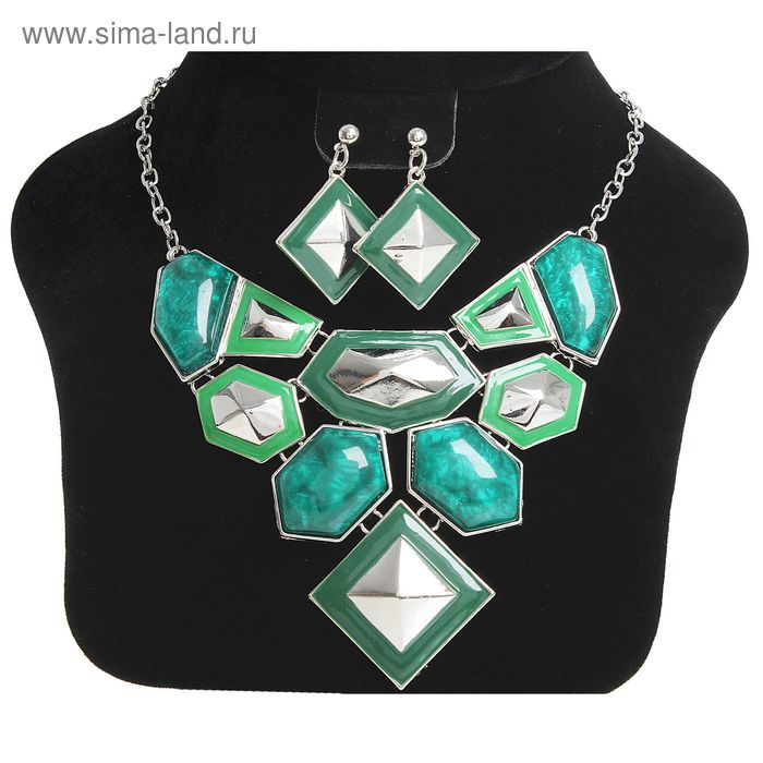 """Набор 2 предмета: колье, серьги """"Многогранник"""", цвет зелёный в серебре"""