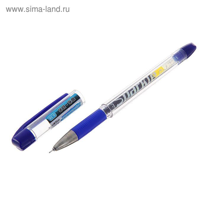 Ручка гелевая 0,38мм синяя корпус прозрачный с резиновым держателем игольчатый пишущий узел CorkerA-