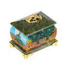 """Шкатулка """"Осень"""", с ящеркой, на ножках, 5х7 см, каменная крошка, серпент"""