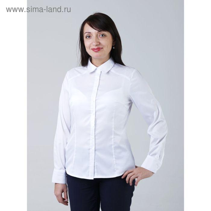 Блузка женская с длинным рукавом 905-8195L, размер 48, цвет белый