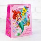 """Пакет ламинированный """"Самой лучшей девочке"""", Принцессы: Русалочка, + мини-открытка, ПВХ окно с блестками"""