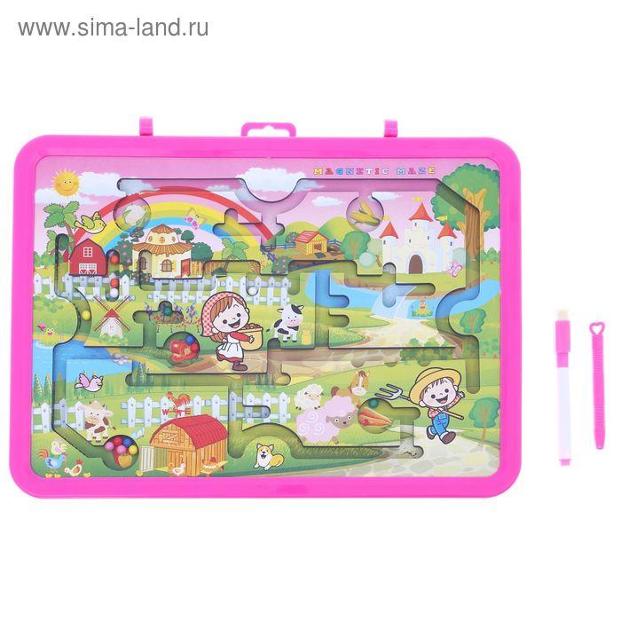 Доска для рисования маркером двухсторонняя, оборот игра-лабиринт, маркер, цвет розовый