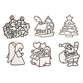"Витраж-мини ""Дед Мороз, елка, ангел, дом, подарок, венок"""