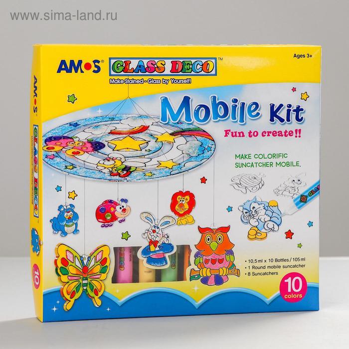 """Набор витражных красок """"Мобиле"""": 8 витражей, 10 цветов по 10,5 мл"""