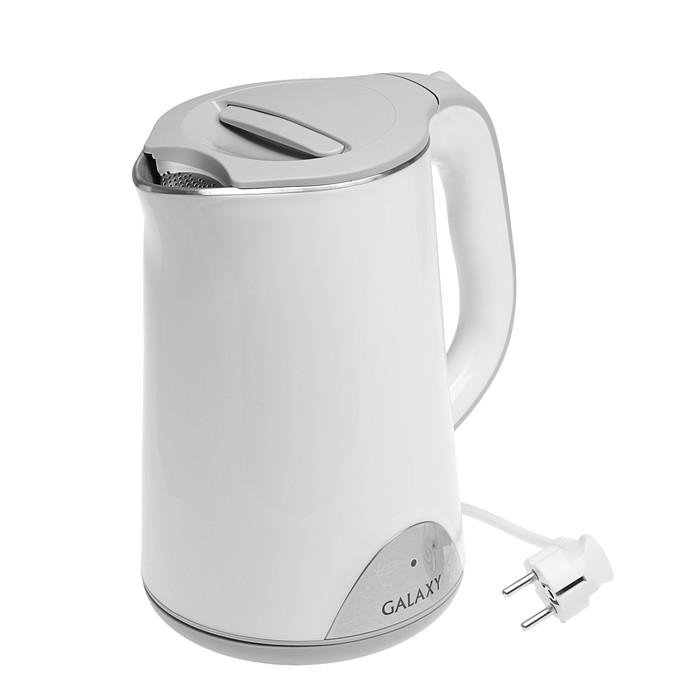 Чайник электрический Galaxy GL 0301, 2000 Вт, 1.5 л, металл, белый